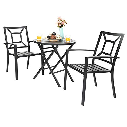 PHI VILLA Metal Patio Dining Chairs and Dia.28.1″ Folding Round Table Furniture Set – Table with Aluminum Table Top