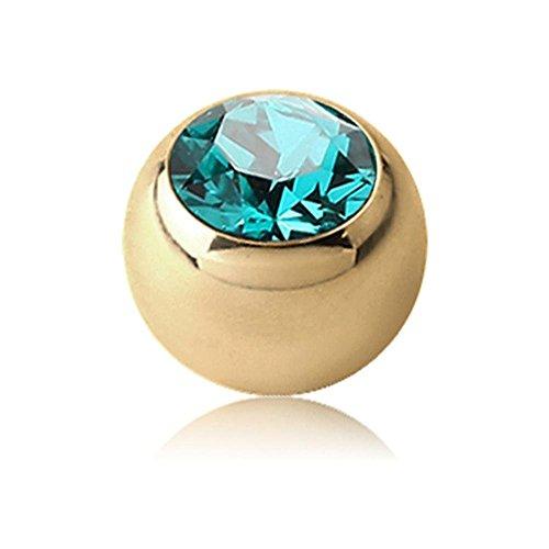 Zircon Gold Threaded Jewelled Balls - Blue Zircon 1.2 x 3mm ()