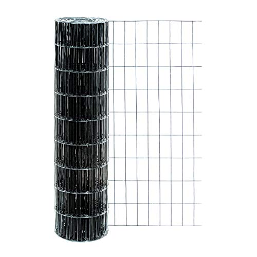 Garden Zone 36 Inches x 50 Feet - 2 x 4-Inch Openings, 14 Gauge - Black Vinyl Garden Fence - For Making Gates, Fencing, Gardens, Farms, Pet - Panel Wire Fence