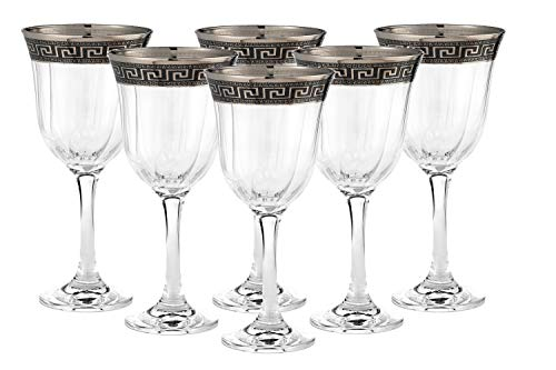 """Cristalleria Italian Decor"" Crystal Water Beverage Goblet, 12 oz. Silver Platinum Greek Key Ornament, Hand Made in Italy, SET OF 6 Glasses"