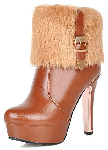 Easemax Women's Warm Fluffy Fur Zip Up Round Toe Buckle Platform Ankle Boots With Chunky Heels Yellow kbThd88oY