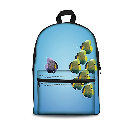 Design the fashion fo Kids Back to School Backpack, Canvas Book Bag,Aquarium,Purple Angelfish Leading the Yellow Group Be Different Inspirational Decorative,Light Blue Yellow Purple.