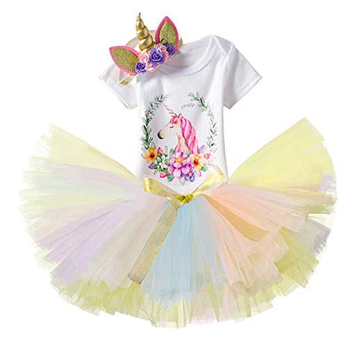 TTYAOVO Baby Girl 1st Birthday 3pcs Unicorn Outfits with Headband & Romper & Skirts Size 1Years Yellow&Pink