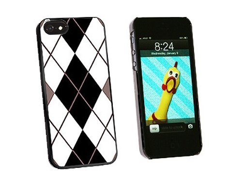 Graphics and More Argyle Hipster Black White Snap-On Hard Protective Case for iPhone 5/5s - Non-Retail Packaging - Black