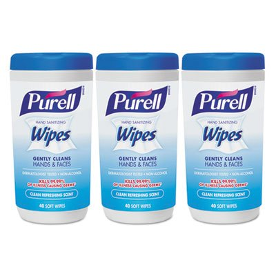 Hand Sanitizing Wipes, 5.7 x 7 1/2, Clean Refreshing Scent, 40/Canister,18/Ctn, Sold as 1 Carton, 18 Each per Carton