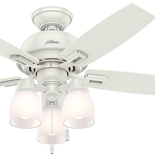Hunter Fan 44 inch Fresh White Ceiling Fan with Light and LED bulbs (Certified Refurbished)