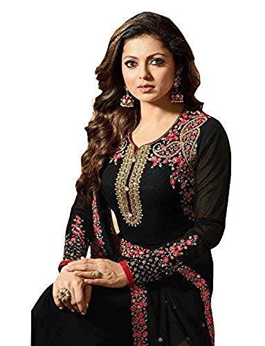 (Laxminarayan Georgette Fabric Heavy Embroidered Designer Churidar Salwar Suit with Georgette Fabric Dupatta (Unstitch, Black))