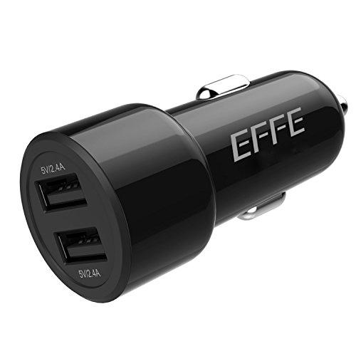 Cargador de coche con 2 puertos, EFFE 24W 4.8A Adaptador Dual para Coche con Puerto USB para iPhone X / 8/7 / 6s / Plus, iPad...