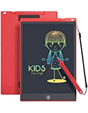 LCD Writing Tablet Drawing Pad, Colorful Screen Doodle Board for Kids, Traveling Gift Toys for 4 5 6 Year Old Boys and Girls (12 inch, Red)