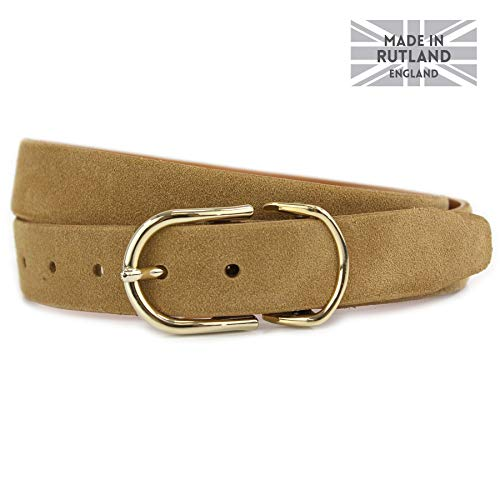 Strap Skye Nickel Or 3cm Tan Co Feather Ladies Belt British Italian Jeans Shiny Buckles Tone Suede Belt Edged Gold x8wOx0qT