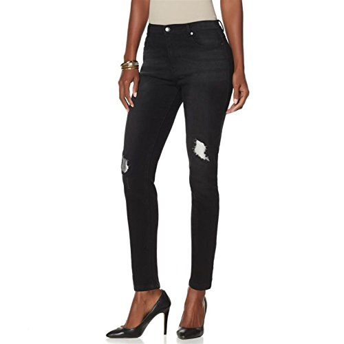 DG2 Diane Gilman Super Stretch Foil-Patched Skinny Jean Black 10P # (510 Super Skinny Jean)