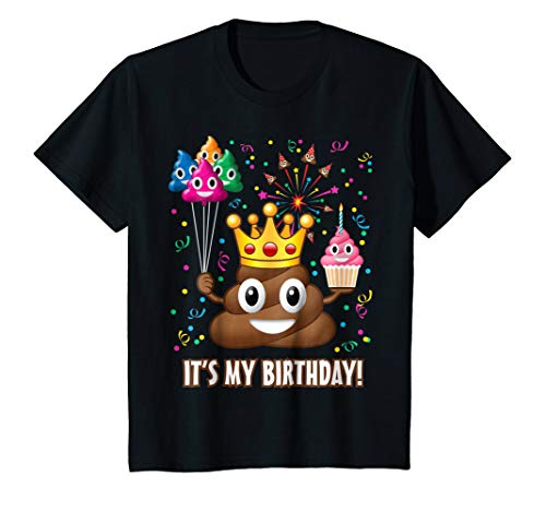 Kids It's My Birthday Poop Emoji T-Shirt 8 Black