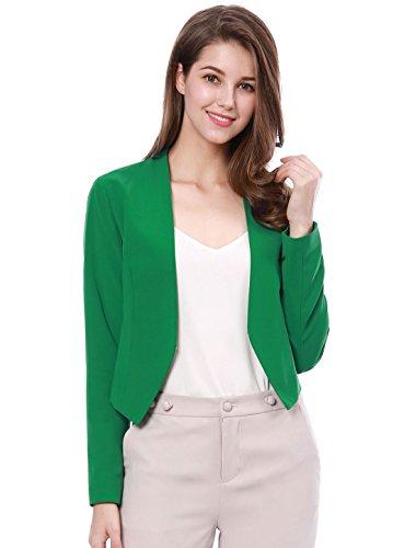 J Blazer Crew - Allegra K Women's Collarless Work Office Business Casual Cropped Blazer Green XL (US 18)