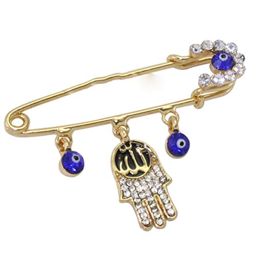 Crystal Pin Brooch Allah Hamsa Hand Of Fatima Brooch Gold-color