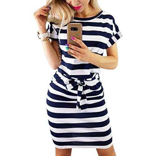Striped Pencil - Roselux Women's Striped Elegant Short Sleeve Wear to Work Casual Pencil Dress with Belt(Navy-Blue,M)