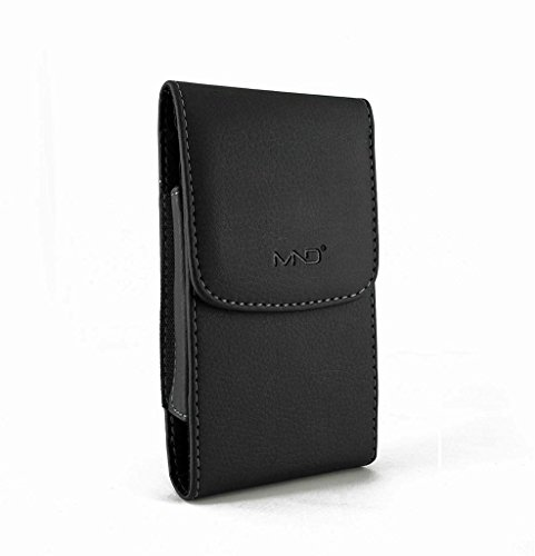 Vertical Leather Case Belt Clip Pouch Holster Sleeve for LG Stylo 3, LG Stylus 3, Motorola Moto Z Play XT1635 Droid (Fits with Otterbox Symmetry/ Commuter / Lifeproof / Hybrid Case On) - Black