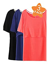 Smallshow 3 Pcs Maternity Nursing T-Shirt Short Sleeve Nursing Tops