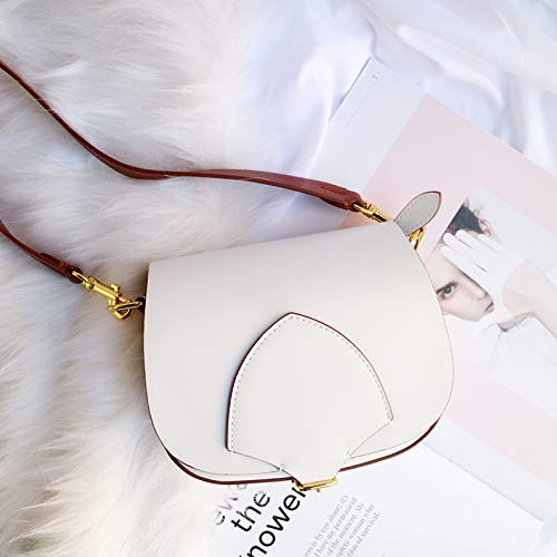 Strap Lady's Cowhide Genuine Saddle white Shoulder Bag Sloping Wenlong Shoulder Wide Bag Leather Leather Retro Single w1fanq0px