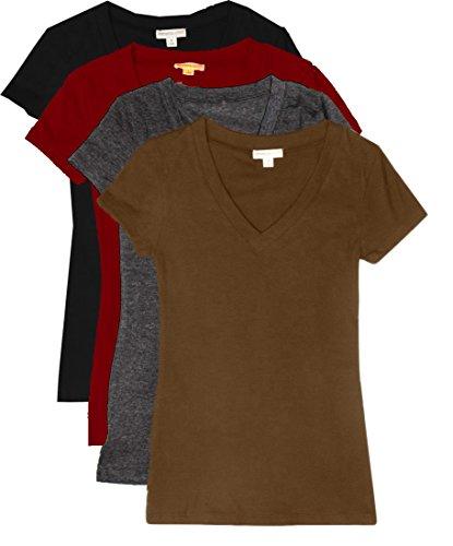 TL Women's Comfy Basic Cotton Short Sleeves Solid V-neck T-shirts ,4 Pack-blk /Bur /Char / Mocha,Small
