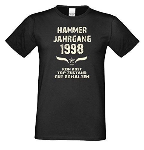 Geburtstagsgeschenk T-Shirt Geschenkidee zum 19. Geburtstag Herren Männer Hammer Jahrgang 1998 Geburtsjahr Übergrößen Farbe: schwarz Gr: 5XL