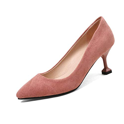2019 Women Shoes Platform Thin High Heel Pointed Toe Flock Spring/Autumn Fashion Women,Pink,7