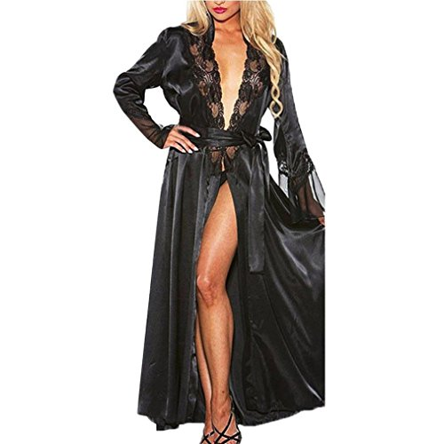 Makaor Women Nightgown Long Silk Kimono Dressing Gown Babydoll Lace Lingerie Bath Robe (Black, Size:2XL) - Black Dressing Gown