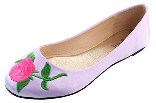Elegant Footwear Women's Embroidered Rose Floral 90s Round Toe Ballet Flat (8.5 B(M) US, Lilac) Pastel Ballet Shoes