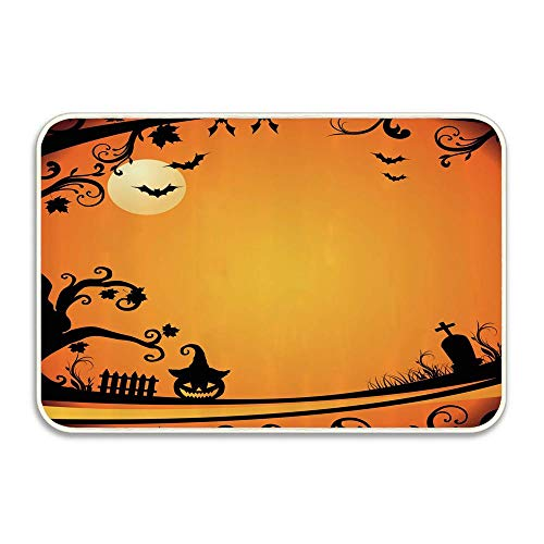 Halloween Themed Image Eerie Atmosphere Gravestone Evil Pumpkin Moon Indoor/Outdoor Doormat Anti-Skid Entrance Rug Floor Mat Home Decor Outside Doormat 16 X 24 -