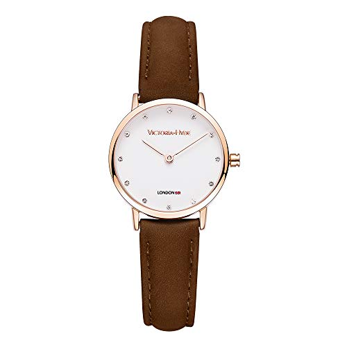 (VICTORIA HYDE Women Quartz Watches White Small Dial Slim Brown Genuine Leather Strap Rose Gold Case)