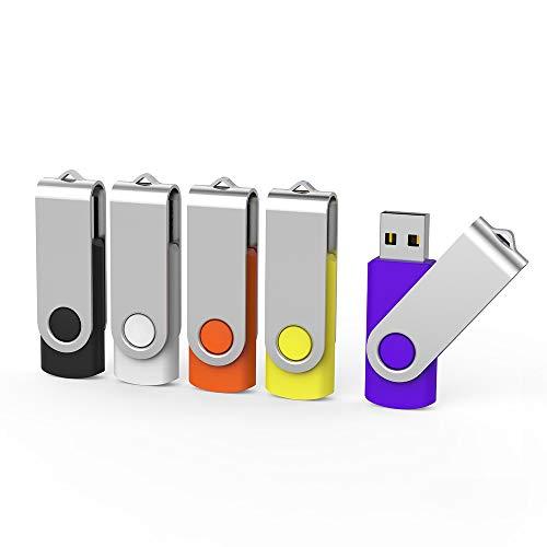 Aiibe 5 Pack 32 GB USB Flash Drives Flash Drive USB 2.0 Memory Stick Thumb Drives 32GB Swivel Pen Drive (32G, 5 Mixed Colors: Black Red Yellow White Purple)