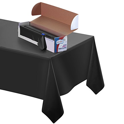 Disposable Table Cover: Durable Plastic Indoor/Outdoor Tablecloth 100' X 52'' with Easy to Use Safe Cutter| Perfect Fit for Patio, Parties, Barbecue & Kitchen Table (Black) by Clearly Elegant