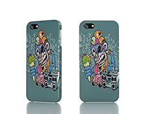 Apple iPhone 4 / 4S Case - The Best 3D Full Wrap iPhone Case - vector monkeys