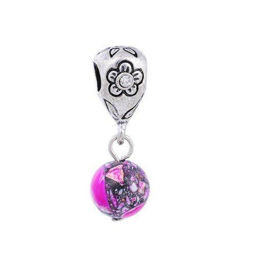 """Andante-Stones 925 perle Dangle Bead Argent """"Jaspis"""" avec motif floral (fuchsia) - Élément bille pour perles European Beads + Étui en organza"""