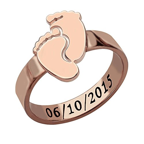 xykj Jewerly Sterling Silver Personalized Rings Customized Family Mothers Ring(18ct Rose Gold 6)