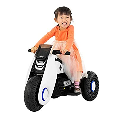 Uenjoy Kids Ride On Motorcycle 6V Children's Electric Motorcycle 3 Wheels Double Drive with Music,Battery Powered Motorbike for Kids,White: Toys & Games