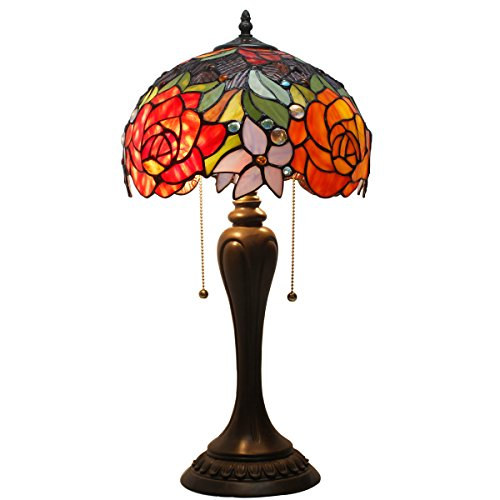 (Tiffany Lamp Antique Style Stained Glass Table Lamps 22 inch Tall 12 Inch Wide Red Rose Lamp Shade 2 Light for Girlfriend Living Room Kids Bedroom Bedside Dresser Coffee Table)