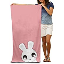 """Cute Rabbit Bunny Hand Towel Beach/Shower Towel Wrap, 31.5"""" X 51.2"""" Mini Multi-purpose, Ideal For Home And Travel Use"""