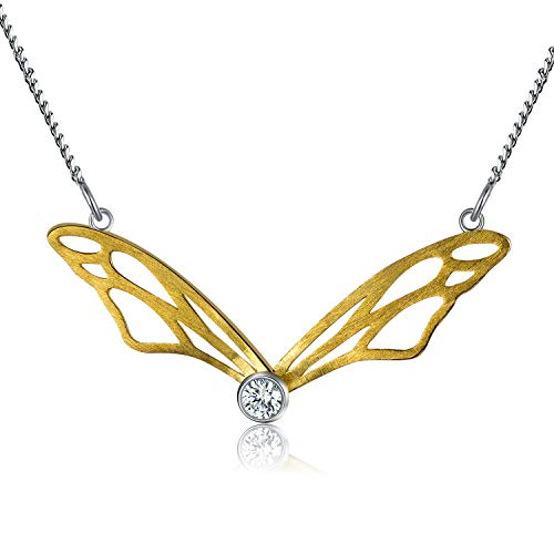 Lotus Fun S925 Sterling Silver Necklace Pendant Hollow Butterfly Wings Pendant with Necklaces Link Chain Length 17inches, Handmade Unique Jewelry for Women and Girls (Gold)