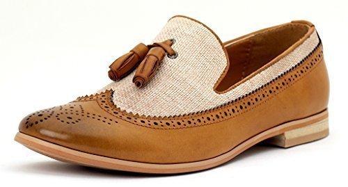 Hombre Inteligentes Vestido De La Manera Sin Cierres Mocasines Con Borlas Casual Oficina zapatos número GB Marrón/Beige