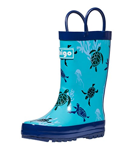 hibigo Children's Natural Rubber Rain Boots with Handles Easy for Little Kids & Toddler Boys Girls, Turtle