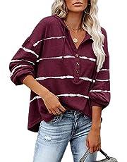 Womens Hoodies V Neck Long Sleeve Pullover Tops Striped Button Henley Shirt Sweatshirts