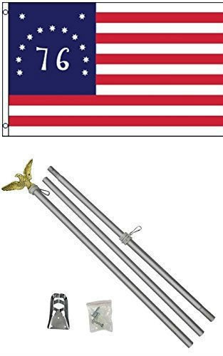 ALBATROS 3 ft x 5 ft Bennington 1776 Flag with 6in Ft Aluminum Flagpole Flag Pole kit Eagle for Home and Parades, Official Party, All Weather Indoors Outdoors
