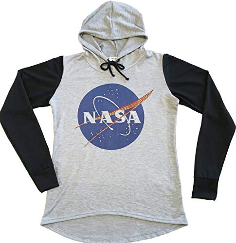 - Sweet Gisele NASA Meatball Logo Worm Hooded Sweatshirt Sweater Pullover Womens Two Tone Raglan Hoodie w/Bling (Medium) Grey/Black