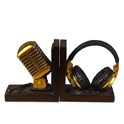 Bookends Simple Creative Headset Microphone Shape Book by Desktop Decoration Study Crafts Ornaments 28x8x14.5cm Bookshelf Book Block