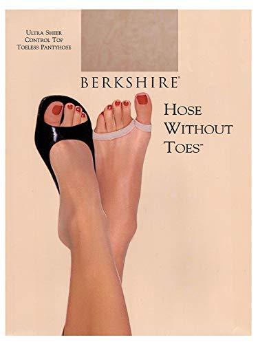 Berkshire Women's Hose Without Toes Ultra Sheer Control Top Pantyhose, Natural Tan, 1x-2x