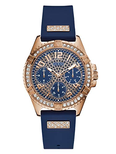 - GUESS  Comfortable Rose Gold-Tone + Blue Stain Resistant Silicone Watch with Day, Date + 24 Hour Military/Int'l Time. Color: Blue (Model: U1160L3)