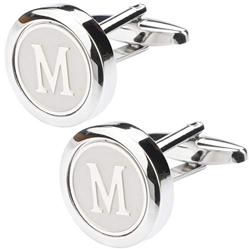 Dannyshi Mens Classic Stainless Steel Initial Cufflinks 26 Alphabet Initial Letter Cufflinks Business Wedding Shirts A-Z (M)