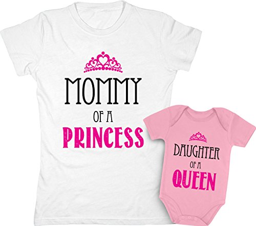 (Mommy of a Princess & Daughter of a Queen Mother & Daughter Matching Set Shirt Bodysuit Clothing Newborn/Women Small, Women White/Baby Wow Pink)
