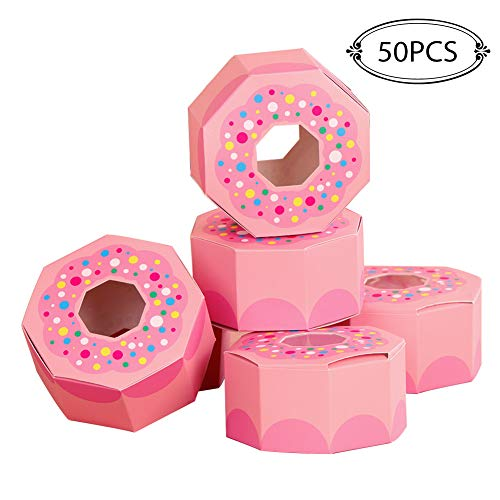 Aparty4u 50pcs Donut Birthday Favor Boxes Pink Candy Goodie Bags Treat Gift Box For Brunch Party And Donut Party Supplies Cute Birthday Baby Shower
