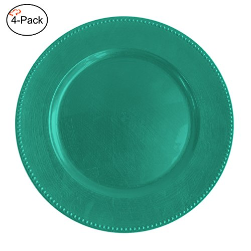 Tiger Chef 13-inch Turquoise Round Beaded Charger Plates, Set of 2,4,6, 12 or 24 Dinner Chargers (4-Pack) (Plates Charger Teal)